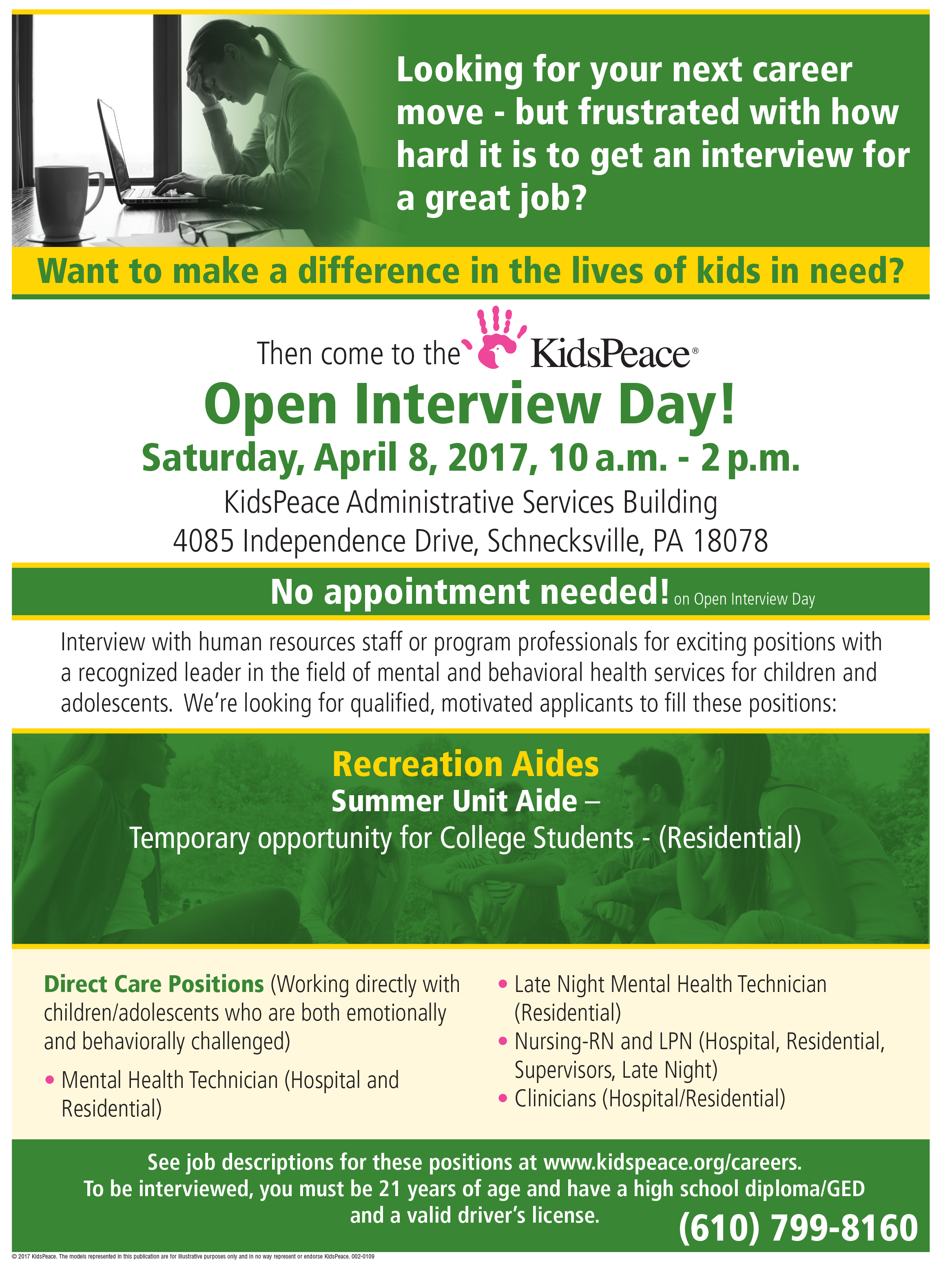 open interview day kidspeace search